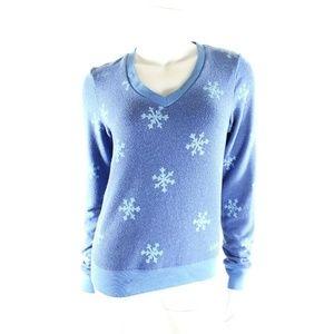 Wildfox Blue Winter Wonderland Sweater Snowflakes